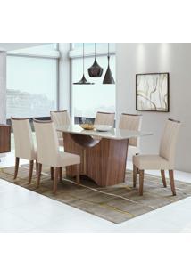 Conjunto Mesa Tampo De Vidro 6 Cadeiras Apogeu Móveis Lopas Imbuia Naturale/Linho Rinzai Bege