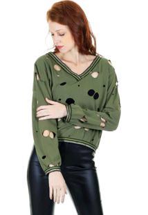 Blusa Aha Cropped Malha Lisa Militar