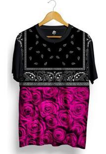 Camiseta Bsc Pink Rose Bandana Full Print - Masculino-Preto
