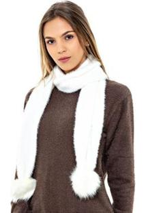 Cachecol Katze Pompom Pele - Feminino-Branco