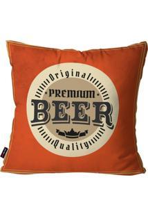 Capa De Almofada Pump Up Decorativa Avulsa Laranja Premium Beer 45X45Cm - Laranja - Dafiti