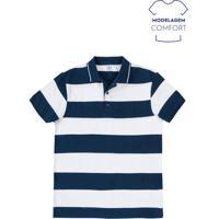 Camisa Polo Masculina Básica Listrada Comfort Em Algodão Hering 156da8a425af6