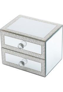 Porta Jóias De Madeira Espelhado Glitter Com Duas Gavetas 16X12X12,5Cm