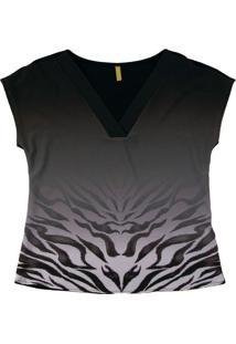 Blusa Com Estampa Animal Print Preto