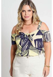 Blusa Estampada Almaria Plus Size New Umbi Laço Fr