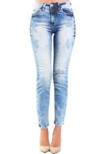 86809a669 Occhi Azzurri. Calça Jeans Skinny Destonado Destroyed Médio Bia Colcci