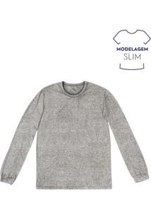 Camiseta Masculina Básica Slim Com Manga Longa