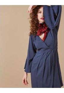 Vestido Curto Manga Sino Azul / P