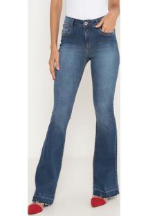 Jeans Flare Estonado & Desfiado- Azul- Ennaenna