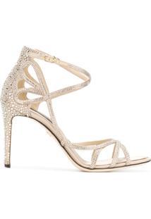 Dolce & Gabbana Sandália 'Keira' De Couro Com Aplicação - Metálico