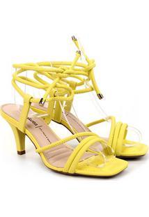 Sandália Dakota Salto Médio Amarração Feminina - Feminino-Amarelo