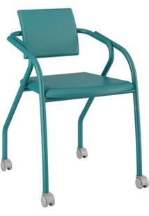 Cadeira Carraro 1713 Aço Color C/Rodízios Turquesa