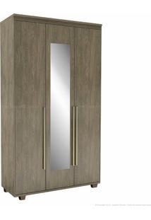 Guarda-Roupa 3 Portas 3 Gavetas Com Pés Originale 100% Mdf 230 X 133,5 X 53 Com Espelho Ébano - Belmax Móveis