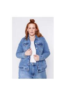 Jaqueta Almaria Plus Size Clamarroca Jeans Básica Azul
