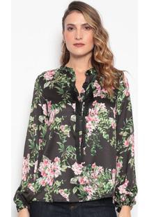 Blusa Floral Com Franjas - Preta & Rosadudalina