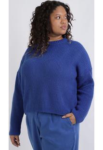 Suéter Feminino Plus Size Oversized Decote Redondo Azul