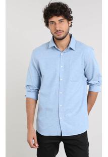 Camisa Masculina Relaxed Manga Longa Azul Claro