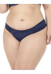 Calcinha Plus Size Com Laterais Drapeadas E Detalhes Em Renda - Feminino-Azul