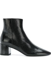 Saint Laurent Ankle Boot De Couro - Preto