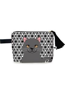 Clutch Nita Faco British Shorthair Preto - Branco