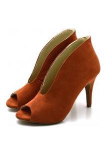 Sapato Feminino Scarpin Abotinado Salto Alto Fino Em Nobucado Ferrugem