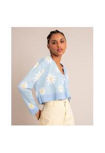 Cardigan Cropped De Tricô Estampado Margaridas Azul Claro