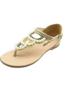 Sandália Romântica Calçados Rasteira Com Perola Ouro Light - Kanui