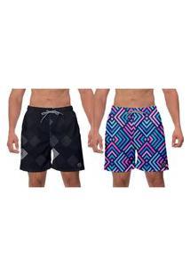 Kit 2 Shorts Preto E Azul Moda Praia Geométrico Surf Ajustável Esporte Água Banho W2