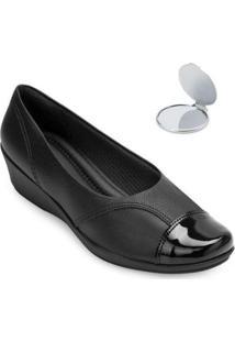 Sapato Anabela Piccadilly E Espelho Pd20-1440 - Feminino