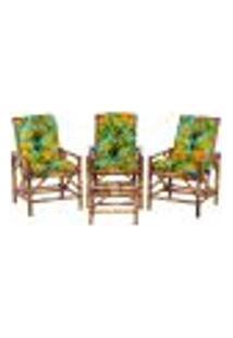 Conjunto Mesa E 3 Cadeiras De Bambu Cancun Para Área Edicula Jardim G32