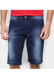 Bermuda Jeans Zamany Lavagem Média Resina Masculina - Masculino-Azul