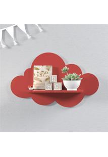 Prateleira Nuvem Vermelha Mdf M 45Cm Grão De Gente Vermelho