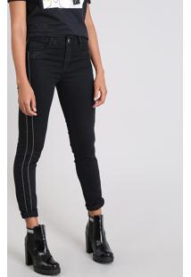 Calça Jeans Feminina Sawary Cigarrete Com Brilho Lateral Preta