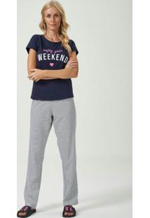 Pijama Manga Curta Com Calça Azul E Listrado