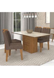Conjunto De Mesa De Jantar Retangular Rafaela Com 4 Cadeiras Elisa Suede Cacau E Off White