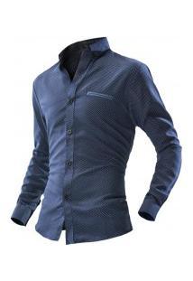 Camisa Masculina Estilo Fit Point Poás - Azul Escuro