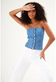Corselet Jeans Zinzane Botões Feminino - Feminino-Jeans