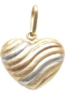 Pingente Prata Mil Coração Tricolor Ouro - Kanui