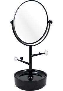 Espelho De Mesa Com Compartimento Para Jóias Jacki Design Espelho Preto