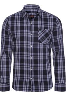 Camisa Masculina Xadrez Flanelada - Preto