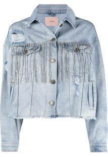 Twinset Jaqueta Jeans Com Aplicações De Cristais - Azul