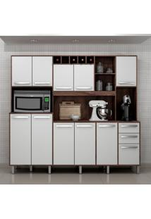 Cozinha Compacta Petra 11 Pt 2 Gv Castanho E Branca