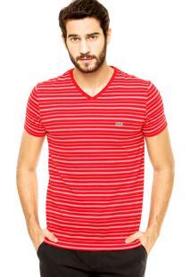 3978d9cdf49 ... Camiseta Lacoste Listras Vermelha