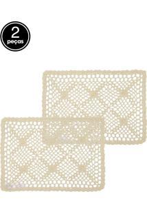 Kit Jogo Americano 2 Pçs Lyor Crochê Engomado Algodão Diamond 45X30Cm