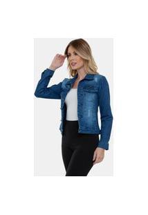 Jaqueta Jeans Longa Lavado Destroyed Vi Feminina Azul Escuro