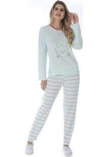 Pijama De Inverno Listrado Victory Feminino - Feminino-Verde