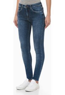 Calça Jeans Feminina Five Pockets Escovada Skinny Cintura Alta Azul Médio Calvin Klein - 36