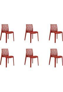 Kit 06 Cadeiras Gruv Vermelha Rivatti Móveis
