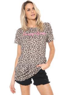 Camiseta Lança Perfume Resort Onça Bege/Rosa