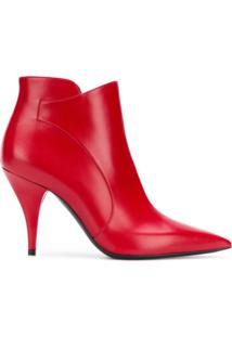 Casadei Ankle Boot Bico Fino De Couro - Vermelho